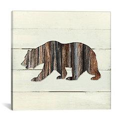 Woodland Bear on Shiplap Canvas Art Print
