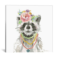 Glamour Girls Raccoon Canvas Art Print