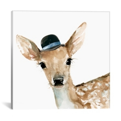 Deer with Hat Canvas Art Print