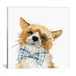 Fox with Bowtie Canvas Art Print