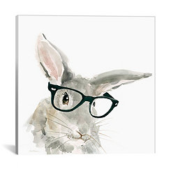 Rabbit with Glasses Canvas Art Print
