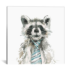 Raccoon with Tie Canvas Art Print