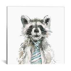 Raccoon with Tie Canvas Art Print
