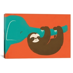 Let's Hang Sloth and Elephant Canvas Art Print