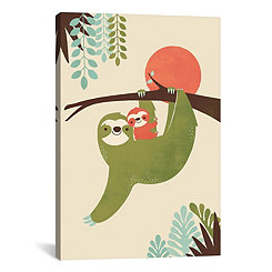 Mama Sloth with Baby Canvas Art Print