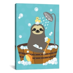 Bathing Sloth Canvas Art Print