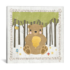 Bear with Honey Canvas Art Print
