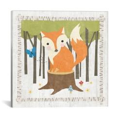 Fox on Stump Canvas Art Print
