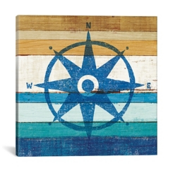 Slatted Compass Canvas Art Print