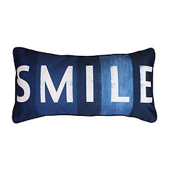 Smile Printed Faux Linen Accent Pillow