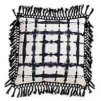 Navy Shibori Fringe Trim Pillow