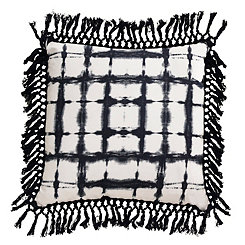 Navy Shibori Fringe Trim Pillow