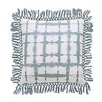 Light Blue Shibori Fringe Trim Pillow