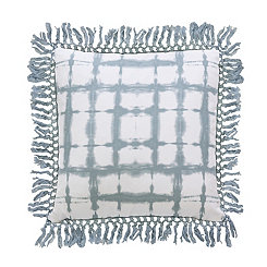 Light Blue Shibori Fringe Trim Pillow