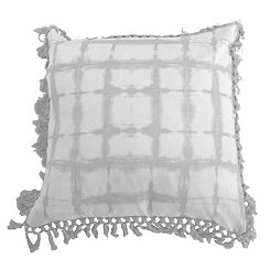 Gray Shibori Fringe Trim Pillow