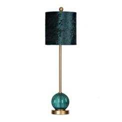 Teal Glass and Velvet Buffet Lamp