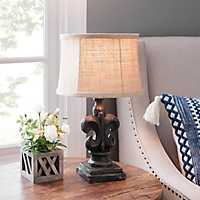 Distressed Black Fleur-de-lis Table Lamp