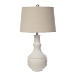 White Glaze Serenia Ceramic Table Lamp