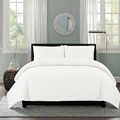 White Channel Stripe 3-pc. Full/Queen Quilt Set