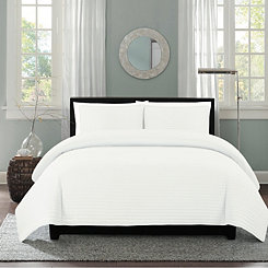White Channel Stripe 3-pc. King Quilt Set