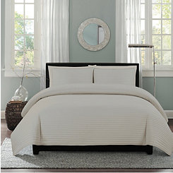 Gray Channel Stripe 2-pc. Twin Quilt Set