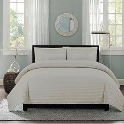 Gray Channel Stripe 3-pc. King Quilt Set