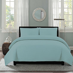 Blue Channel Stripe 3-pc. Full/Queen Quilt Set