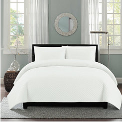 White Diamond Stitch 2-pc. Twin Quilt Set