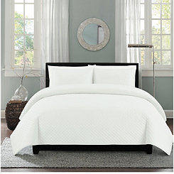 White Diamond Stitch 3-pc. King Quilt Set