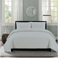 Gray Diamond Stitch 3-pc. King Quilt Set