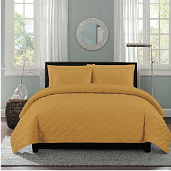 Mustard Clover Stitch 3-pc. Full/Queen Quilt Set