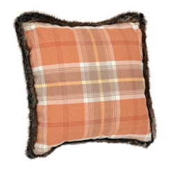 Fall Plaid Fur Trimmed Pillow