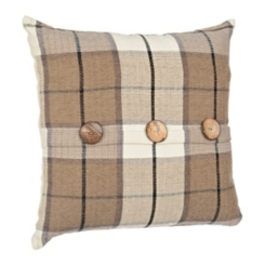 Taupe Raven Plaid Pillow