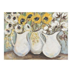 Fall Pitcher Floral Trio Canvas Art Print
