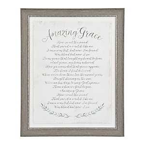 Gray Amazing Grace Framed Glass Art
