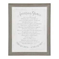 Gray Amazing Grace Framed Glass Art