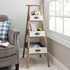 Wood Ladder Shelf with Storage Drawers