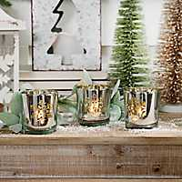 Silver Snowflake Votive Candle Holders, Set of 3