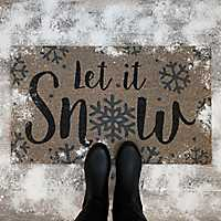 Gray Let It Snow Coir Doormat