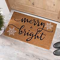 Merry and Bright Snowflakes Coir Doormat