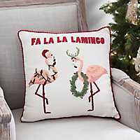 Fa La La Lamingo Christmas Pillow