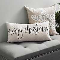 Black Merry Christmas Knit Accent Pillow