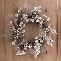 Pre-Lit Metallic Pine Berry Wreath