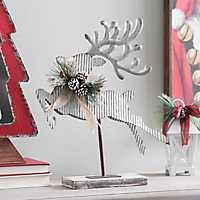 Left-Facing Corrugated Metal Reindeer Statue