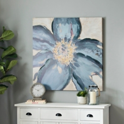 Blue Flower with Gold Canvas Art Print