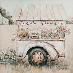 Flower Cart Canvas Art Print