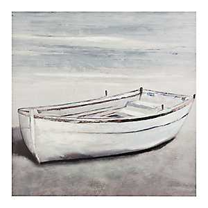 White Boat Canvas Art Print