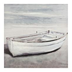 White Boat Canvas Art Print