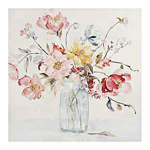 Watercolor Floral Vase Canvas Art Print