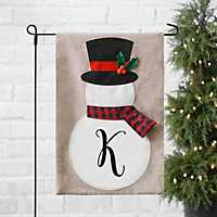 Tan Monogram Snowman with Scarf Flag Sets